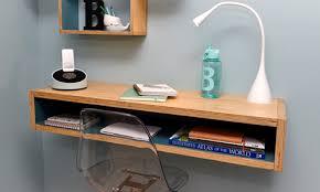 diy timber floating wall desk
