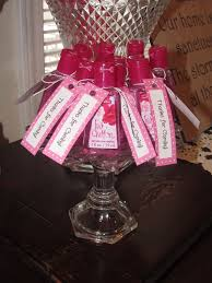 Party Favors: - Pink Chiffon Pocketbac Hand Sanitizer with tags made out of  scrapbook paper and white string