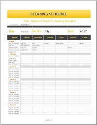 Monthly Schedule Excel Template Daily Weekly Monthly Cleaning Schedule Template For Ms