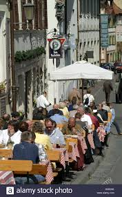 Germany Bavaria Bamberg Old Town Street Cafe Guests