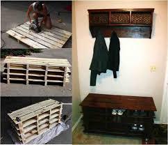 pallet storage bench. diy pallet storage bench and shelf