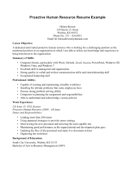 Hr Resume Objective Resume For Study