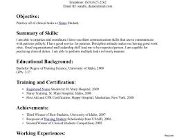 Nursing Resume Clinical Experience Resume For Student Nurse The