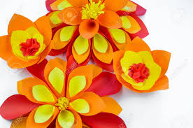 Flower Made In Paper A Large Flower Made Of Paper Orange Red Yellow Colors Decor