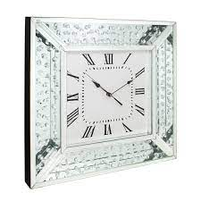 fabulous floating crystal mirror wall clock