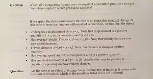question which of the equations for motion with constant acceleration produce a straight line when graphed