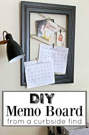 diy memo board made with twine and large black frame hanging on wall with floor lamp