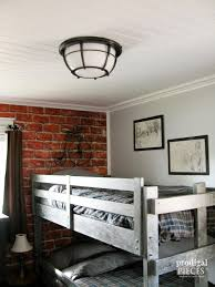 a teen boys room gets a vintage makeover with faux brick wallpaper metal
