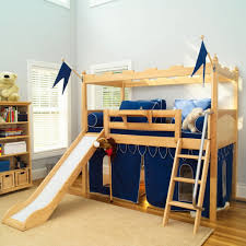 furnitture ideaastounding kids bedroom interior using wooden loft bunk bed for kids with blue tent and flags and blue bedding and slide and one shelf also bedroom kids designs bunk