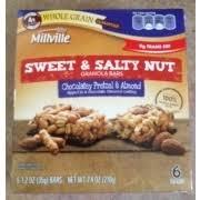 millville sweet salty nut granola bars chocolatey pretzel almond nutrition grade c