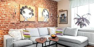 brick wall living room designs style interior decorated with furniture and on a bright interior design brick wall living room