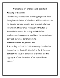 Notes On Valuation Of Goodwill And Shares For Bba B Com Students