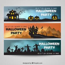 Halloween party banners pack Free Vector