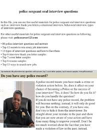 Police Sergeant Oral Interview Questions Job Interview Interview
