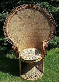 vintage 1970s emmanuel wicker high back fan pea rattan chair