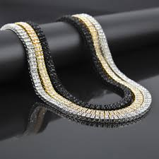 hip hop bling iced out 2 row simulated stone necklaces women men golden charm full rhinestone jewelry gifts chains in chain necklaces from jewelry