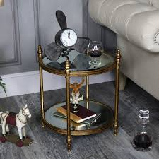 gold round mirrored side table