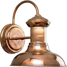 progress lighting brookside collection 1 light outdoor 9 75 inch copper wall lantern p5721 14 the home depot