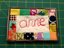 Super cute idea for a name tag! I really love this. reblogged from ... & I made this name tag for the Portland Modern Quilt Guild meeting tomorrow!  I used scraps of fabric and free-motion quilted my name using my BSR. Adamdwight.com