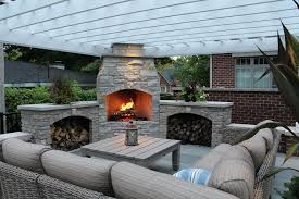 modern outdoor fireplace patio contemporary with two way person daybeds