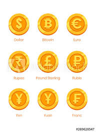 ✅ check the latest price! World Currency Symbols Gold Coins With Signs Dollar Bitcoin Euro Rupee Pound Sterling Ruble Yen Yuan Franc Buy This Stock Vector And Explore Similar Vectors At Adobe Stock Adobe Stock