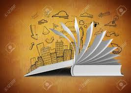 digital posite of 3d book open turning pages against orange background with city ilration drawings stock