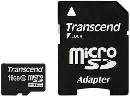 Thẻ Nhớ Transcend 16GB microSDHC Class 10 + SD Adapter (TS16GUSDHC10)