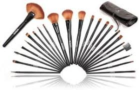 shany studio quality natural cosmetic brush set with leather pouch 24 count