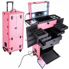 incredible makeup case with lightirror professional makeup trolley luge case lighted professinal rose golden studio