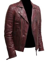 mens burdy color biker style leather jacket