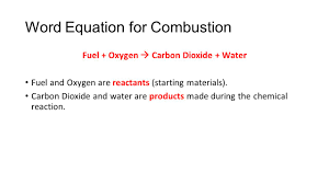 word equation for combustion