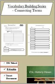 Vocab Building Worksheets Vocabulary Building Worksheet Connecting Terms Esl Ell Writing