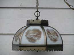 vintage farmhouse lighting. Vintage Farmhouse Hanging Light, Paneled Glass Lamp Shade, Currier \u0026 Ives Lighting O