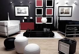 dazzling black white red living room design ideas with unique elips ottoman and black white armchair plus square frame wall art