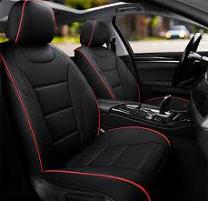 360 red black leather car seat covers