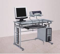 computer desk workstation chrome glass modern finish steel office furniture new acme modern
