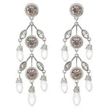 silver beaded statement earring