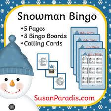 Snowman Bingo <b>Game</b> and Borderless <b>Printing</b> - Susan Paradis ...