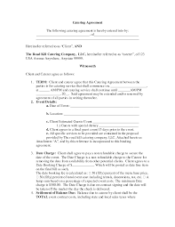 Nice Blank Contract Agreement Form Sample For Catering With Term And ...