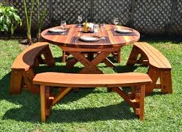 large wooden picnic table p1908 living room garden and patio small round outdoor wooden picnic table