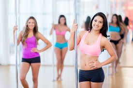 woman in a pole dance cl