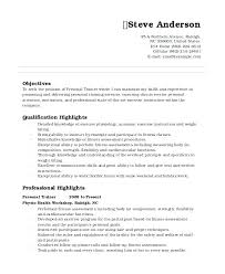 Dog Trainer Resume Personal Training Resume Sample Athletic Trainer Example Fitness