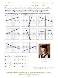 point slope form of equation of a line worksheets