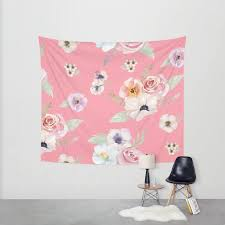 wall tapestry watercolor fl i bright pink small medium or large bedroom decor accessories dorm nursery playroom