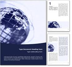 Ms Word Page Designs World Globe Word Template In Blue