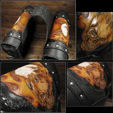 wild hearts skull carved leather motorcycle saddlebags right left