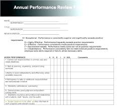 Employee Review Template Word Work Performance Evaluation Form