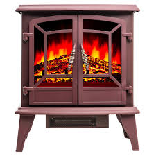 freestanding electric fireplace stove heater in red with vintage glass door