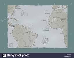 The Old Sea Charts And A Sailing Ship Stock Photo 133531887