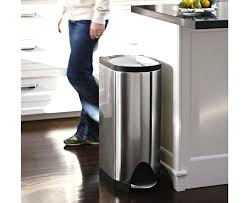 red kitchen trash can cans extra bags narrow measurements stainless steel garbage metal